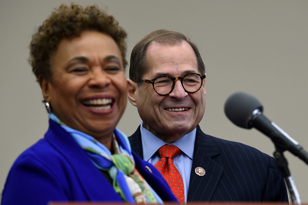 Congressional Cannabis Caucus member Rep. Barbara Lee (D-Calif.) speaks as House Judiciary Committee Chairman Jerry Nadler (D-N.Y.) looks on during a news conference to highlight the MORE Act legislation in Washington, D.C., on November 19th, 2019.